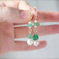 Green jade pearl dangle earrings Long drop 14k gold fill Beach bride wedding Bridal Bridesmaid gift Delicate elegant feminine bohemian Green