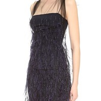 Wes Gordon Feathered Flou Dress