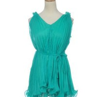 Anna-Kaci S/M Fit Mint Green Classic Elegant Fashion Pleated Ruffled Blouse Top