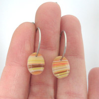Striped Amber Hoop Earrings