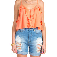 Cross Back Ruffled Crop Tank - Coral