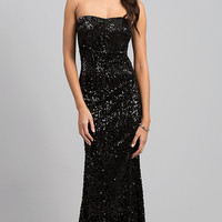 Floor Length Strapless Sequin Dress