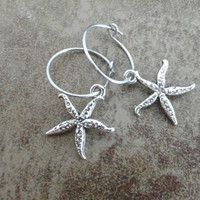 Silver Starfish Hoop Earrings