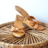 1970's Cut Out Wooden Wedge Heels Leather Flower Painted Platform Sandals 7