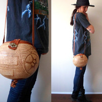 Vintage Unique Carved Gourd & Leather Purse Coconut Palm Tree Bag