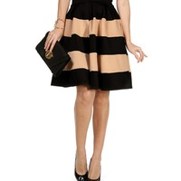 Black/Taupe Striped A Line Skirt