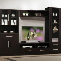 4 pc espresso finish wood modern styling TV entertainment center wall unit