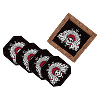 Chobopop Geometric Indian Skull Coaster Set