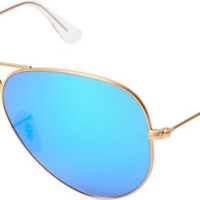 Ray-Ban Aviator Matte Gold & Blue Mirror Large Sunglasses