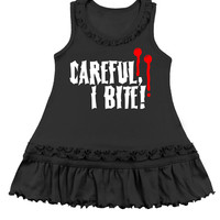 Careful I Bite Vampire Black Tank Top Dress