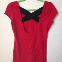 Red Criss Cross Cutout Back Shirt By Wet Seal Size L