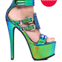 Privileged Blizzard Platform Sandal in Iridescent Green