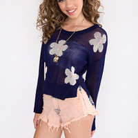 Field of Daisies Sweater - Navy