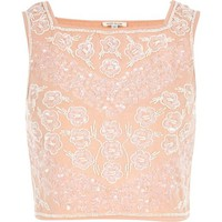 Light pink embellished square neck crop top - crop tops / bralets / bandeau tops - tops - women