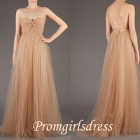 A-line Elegant Strapless Long Prom Dress 2013, Evening dress, Wedding Party Dress, Bridesmaid Dress, Homecoming Dress