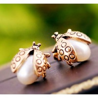 Vintage Gold and Pearl Ladybug Cutest Bug Stud Earrings