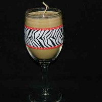 Orange Vanilla Scented Handmade Candle Zebra Print Wine Glass