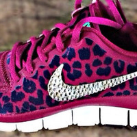 Nike Free 5.0 v4 with Swarovski details Pink/Purple cheetah