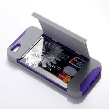 ATC Lumsing New ID Business Credit Card Holder Stand Hard Case Back Cover for Apple iPhone 5 with Screen protector & Stylus Pen (Credit card stand case Grey+Purple)