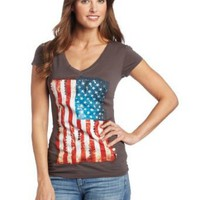 Awake Couture Women's American Flag Hand Beading V-Neck Tee