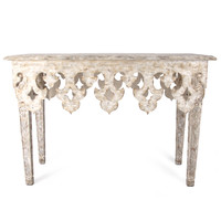 Distressed Fleur de Lis Console Table-carved
