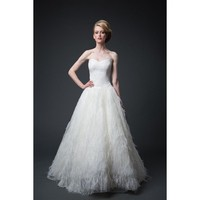 Marvelous Strapless A-line Taffeta Ostrich Feather Wedding Dress