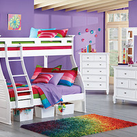 Belmar White 6 Pc Twin Full Bunk Bedroom