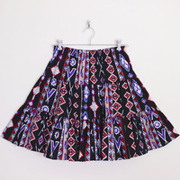 Southwestern Skirt Southwest Skirt Western Skirt Black Tribal Skirt Tribal Print Skirt Tier Skirt Mini Skirt 80s Skirt M Medium L Large