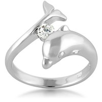 Chuvora 925 Sterling Silver Cubic Zirconia CZ Dolphin Ring size 7