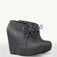 Suede Platform Wedge Booties