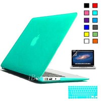 iBenzer - 3 in 1 Multi colors Soft-Touch Plastic Hard Case Cover & Keyboard Cover & screen protector for Multi Sizes Macbook (Macbook Air 13'', Turquoise)