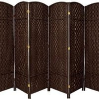Oriental Furniture Wider Larger Bigger Low Price Room Divider, 6-Feet Diamond Weave Natural Fiber Folding Screen, Dark Mocha, 6 Panel