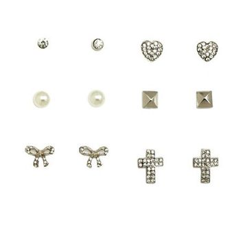 BOW, CROSS, & PEARL STUD EARRINGS - 6 PACK