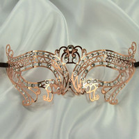 Rose Gold Masquerade Mask Collection - Elegant Metal Filigree Laser Cut Masquerade Mask