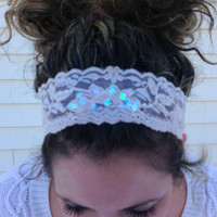 Nude stretch lace headband - sequin accent - stretch headband - women - teens - boho - romantic