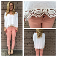 White Jersey Scallop Lace Crop Top