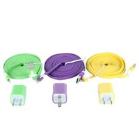 6pcs/lot Simple Solid Color 3pcs USD Cords and Chargers for Iphone 5