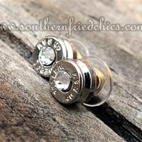Silver Crystal Bullet Stud Earrings