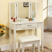 Potterville White Finish Vanity Table Set