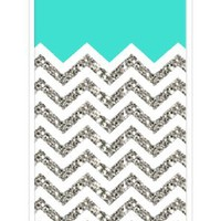 Chevron Pattern Turquoise Grey White Mixed RUBBER iPhone 5C Case (NOT ACTUAL GLITTER) - Fits iPhone 5C T-Mobile, AT&T, Sprint, Verizon and International