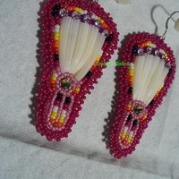 Dentillium beaded Feather Fan earrings