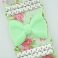 Shapotkina Silver Pyramid Studded on Iphone 5 5S Vintage Flower Case with Green Bow Tie+Westlinke Logo Stylus