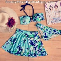 Light Blue Floral 3 Piece Swimsuit Set With Top, Bikini Bottom & Skirt (XS/S/M) - Smoky Mountain Boutique