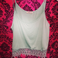 BEACH BUM LACE TANK IN MINT