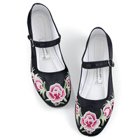Embroidered Silk Mary Janes