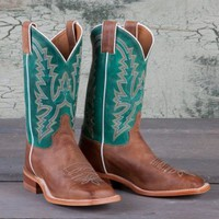 Justin Ladies' Tan and Green Bent Rail Boots