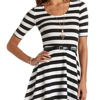 STRIPED & BELTED SKATER DRESS
