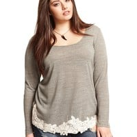 Soprano Plus Size Long-Sleeve Crochet Top