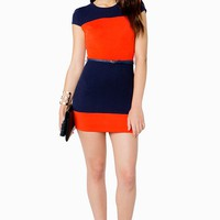 Colorblock Belted Sheath Dress