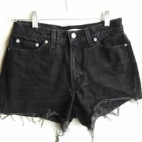 Black High Waisted Denim Shorts Vintage Tommy Hilfiger Jean Shorts Size 2